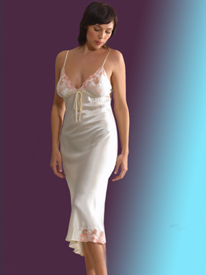 d956e47bb2 Silk Nightwear - Long Nightdress (Gown) with lace in Camomile colour  showing lace trim
